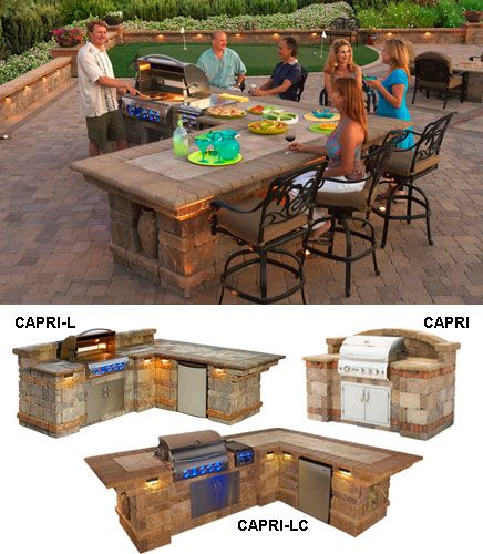bbq island with seating | flagstone walkways and patio | Pinterest ...