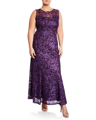 Floral Embroidered Soutache A-Line Gown Plus Size in 2019 ...