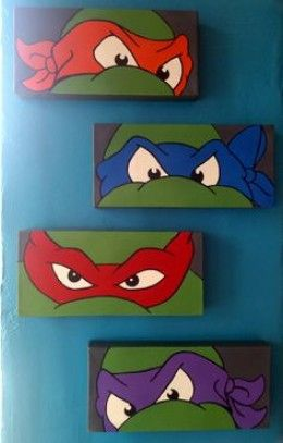 Teenage Mutant Ninja Turtles Bedroom - could be an easy and cheap diy. So making some for the little man. He is his mother's son and loves his ninja turtles Ninja Turtle Party, Boys Ninja Turtle Room, Ninja Turtle Room Decor, Ninja Turtle Bathroom, Turtle Birthday, Teenage Mutant Ninja Turtles, Teenage Turtles, Teenage Ninja, Bedroom Ideas