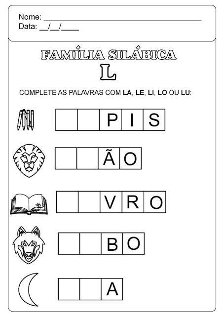 Familia Silabica Do L Atividades De Alfabetizacao Atividades Atividades Alfabetizacao Para Imprimir