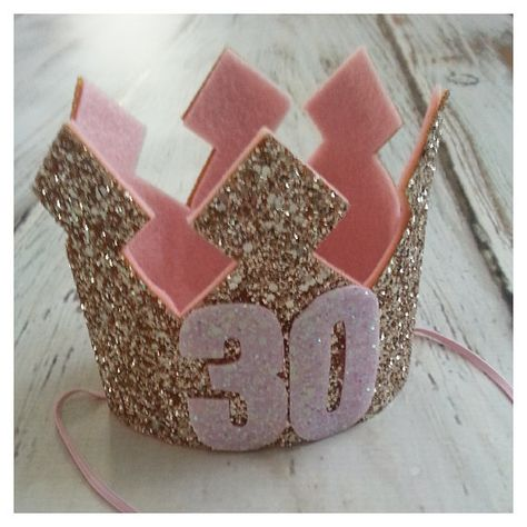 Pink and Gold Glittery 30th Birthday Crown by Kutiebowtuties, $29.95