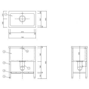 トリミングドッグバス ペット浴槽 間口750 奥行450 高さ900深さ400