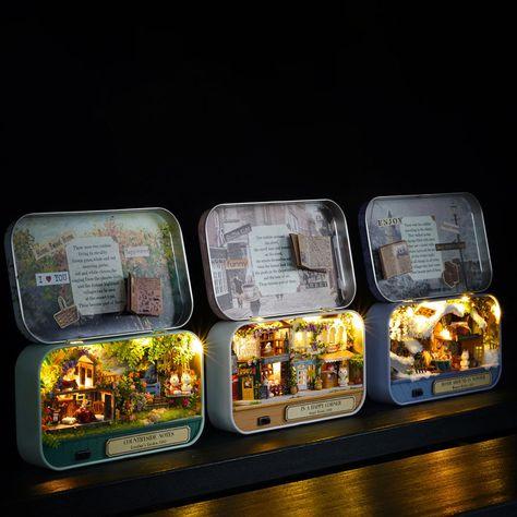 Wooden Puzzle Box, Wooden Puzzles, Dollhouse Kits, Dollhouse Miniatures, Mint Tins, Toy House, Tin Art, Altered Tins, Mini Craft