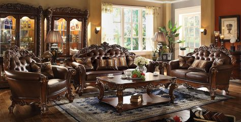 Surprising Vendome Formal Sofa Loveseat Set In Ornate Dark Brown Creativecarmelina Interior Chair Design Creativecarmelinacom