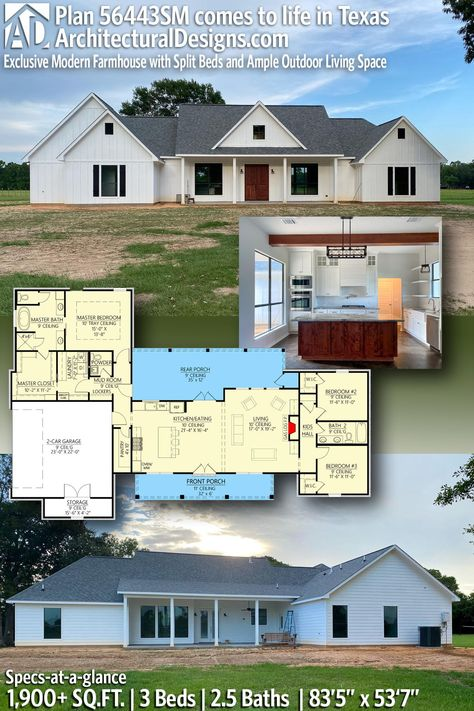 Architectural Designs Exclusive Modern Farmhouse Home Plan 56443SM built by our client in Texas!   3 Bedrooms   2.5 Baths   1,900 square feet - under 2000 sqft   Ready when you are. Where do YOU want to build? #56443SM #adhouseplans #architecturaldesigns #houseplan #farmhousedesigns #newhouse #homedesign