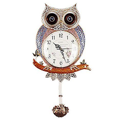 Horloge oiseaux hibou acrylique décorative Nostalgie