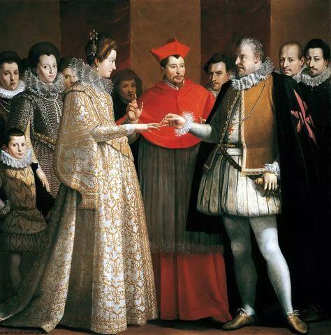 Le mariage par procuration de Marie de Médicis, à Florence, le 5 octobre 1600, par Jacopo Empoli Le rôle de Henri IV absent est tenu par Ferdinand Ier de Médicis, grand-duc de Toscane, oncle de l'épousée. Il porte le collier et le manteau court de l'Ordre de Saint-Étienne, fondé par son père Côme Ier en commémoration de la victoire de Marcian. L'union est bénie par le cardinal Aldobrandini, neveu du pape Clément VIII. Derrière Marie, sa tante Christine de Lorraine, grande-duchesse de…