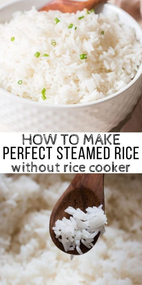 How To Make Perfect Steamed Rice On Stove Top - CurryTrail You don't need rice cooker to make prefect steamed rice. You can get tender, fluffy, perfectly cooked rice on stove top every-single-time! Serve steamed rice as side dish for any main course meal. Cook Rice On Stove, Stove Top Rice, Rice On The Stove, How To Cook Rice, How To Steam Rice, Stove Top Recipes, Side Dish Recipes, Dinner Recipes, Appetiser Recipes