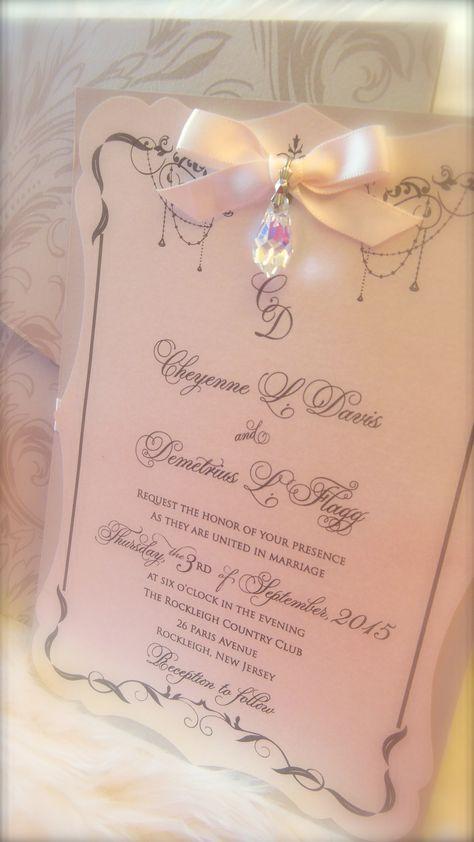 Versailles blush \ gold hanging crystal wedding invitation xo - fresh formal invitation to judges