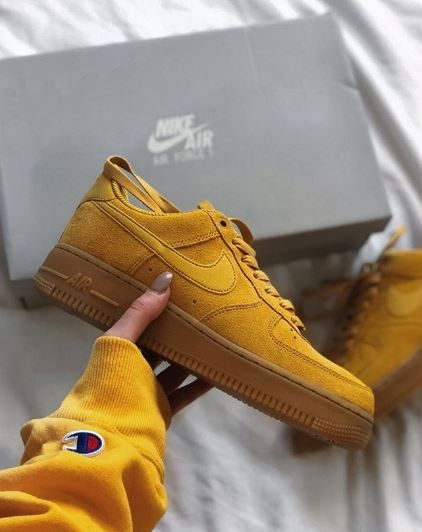 RG: @lilxmg feat nike Air Force 1 07 in Mineral Yellow. We