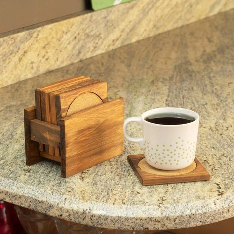 Pine Wood Square Coasters with Absorbent Cork Insert, (Set of 6), and Holder