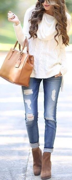 #fall #popular #outfits   Cozy Cable Knit + Denim