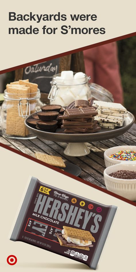 Get creative & explore all the delicious ways to make S'mores. Shop HERSHEY'S chocolate for S'mores, at Target. Fun Desserts, Delicious Desserts, Yummy Food, Tasty, Baby Showers, Sweet 16, Sweet Tooth, Sweet Treats, Food And Drink