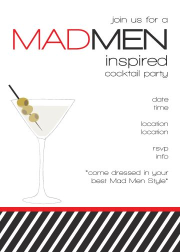 Custom Mad Men Printable Birthday Invitation $1300, via Etsy - free printable dinner party invitations