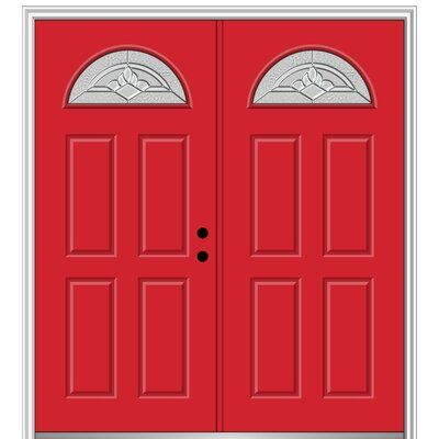 Verona Home Design Grace Painted Both Sides Different 1 4 Lite Sunburst 4 Panel Fiberglass Prehung Front Entry Door Single Entry Doors Front Entry Doors Design