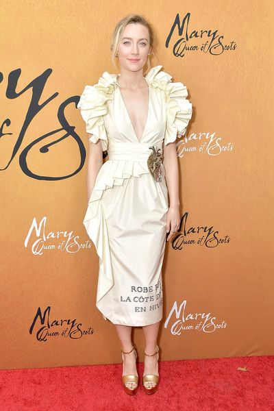 """Actress Saoirse Ronan attends the New York premiere of """"Mary Queen Of Scots"""" at Paris Theater."""