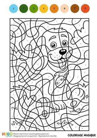 Coloriage Facile Avec Numero.Coloriage Magique Cm1 Un Petit Chien Assis Coloriage