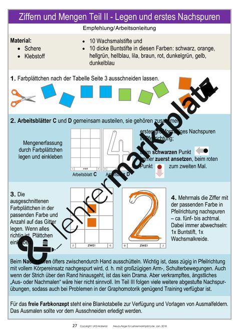 Ziffern und Mengen von 1 bis 10 sorgfältig erarbeiten ...