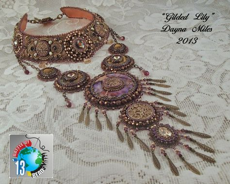The Gilded Lily  Beadwork Bead Embroidery by DaynaMilesDesigns, $575.00