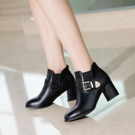Hot Suede Leather Square Toe Chunky High Heel Ankle Boots