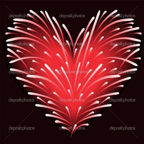 Firework Red Heart