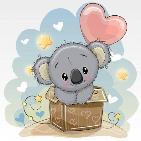 Tarjeta De Cumpleanos Con Un Lindo Koala Y Un Balon Ilustracion De Stock Dibujos De Animales Tiernos Dibujo Oso De Peluche Dibujos Animados Bonitos