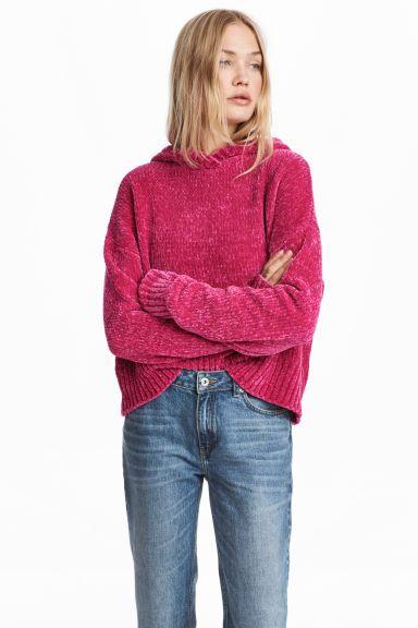 Camisola Em Chenille Com Capuz Cerise Senhora H M Pt Fashion Sweater Trends Hooded Jumper