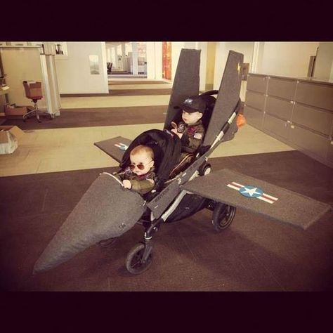 25 Adorable Halloween Costumes For Babies disfraces halloween ideas Stroller Halloween Costumes, Baby Halloween Costumes For Boys, Boy Costumes, Costume Ideas, Top Gun Halloween Costume, Children Costumes, Top Gun Costume, Stroller Costume, Funny Family Costumes