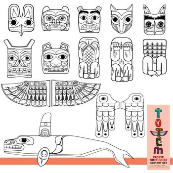 Totem Pole Clip Art Set Of The Pacific Northwest Totem Pole Art Totem Pole Native American Art Projects