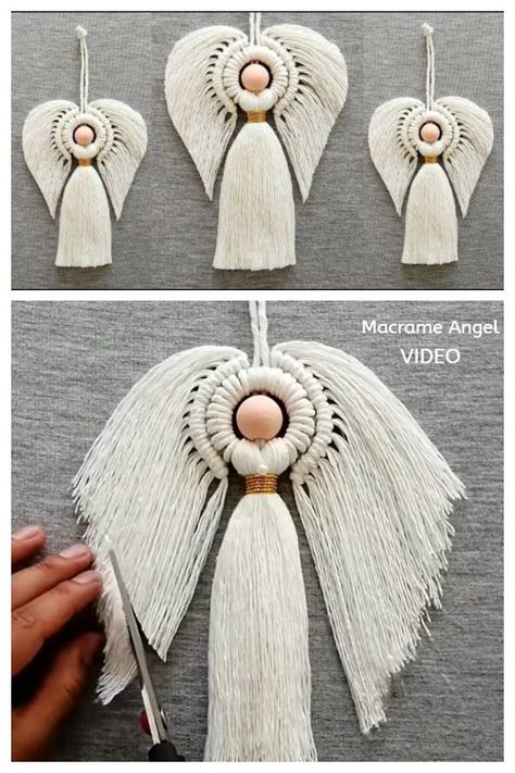 Macrame Wall Hanging Patterns, Macrame Patterns, Ornament Tutorial, Diy Tutorial, Macrame Projects, Crochet Projects, Christmas Angel Crafts, Diy Angels, Macrame Owl