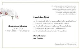 Trauerkarte Danksagung Blume Orchidee Trauerkarten Danksagung Danke Sagen Trauerkarte
