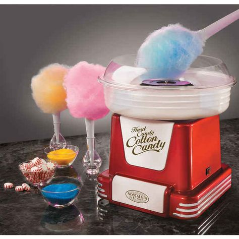 Embrace your inner child with this Nostalgia Electrics cotton candy maker. The unique design turns hard candy or granulated sugar into soft, fluffy cotton candy. Create melt-in-your-mouth treats with this Nostalgia Electrics hard candy cotton candy maker. Sugar Free Hard Candy, Sugar Candy, Kitchen Gadgets, Kitchen Appliances, Specialty Appliances, Small Appliances, Retro Candy, Hammacher Schlemmer, Candy Floss