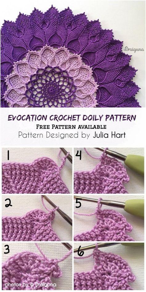 Evocation Crochet Doily Pattern Idea #crochet #doilyidea #crochetpatterns