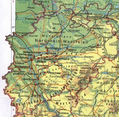 Physische Landkarte Von Nordrhein Westfalen Westfalen Nordrhein