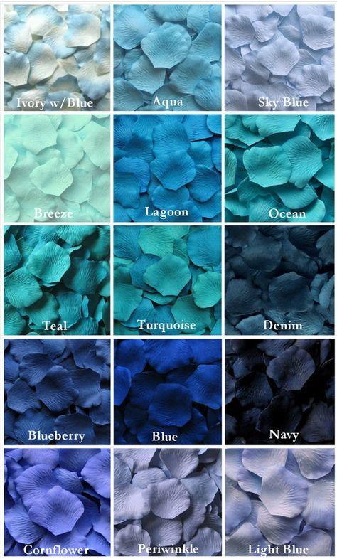 Azullllllll :) wedding colors Blue Rose Petals, 17 Shades of Blue Silk Rose Petals, Fake Rose Petals, rose petals for aisle runners, flower girl petals