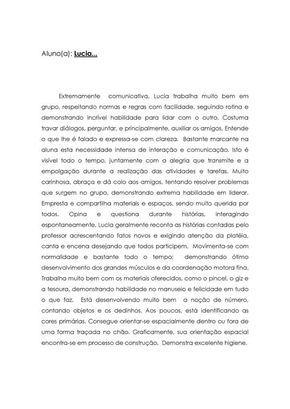 Modelo De Relatorio De Avaliacao Do Desempenho Escolar Avaliacao