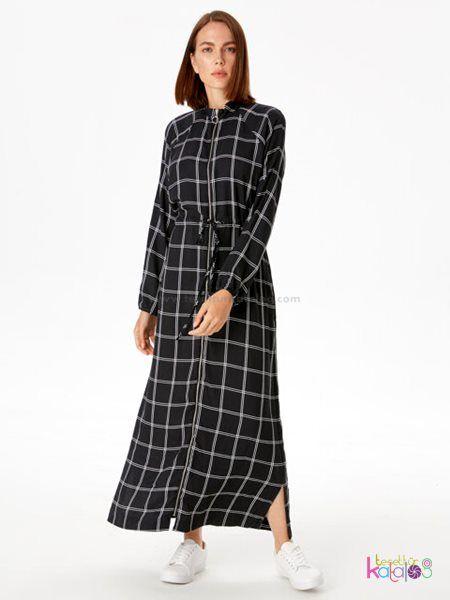 Beli Lastikli Ekoseli Viskon Elbise 2020 Elbise Uzun Elbise The Dress