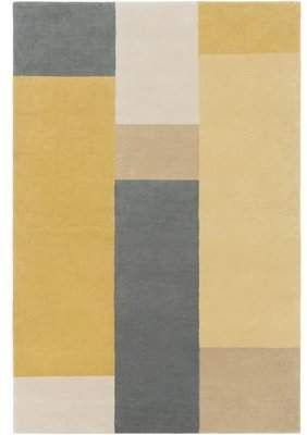 George Oliver Cawthon Handmade Tufted Wool Dark Blue Yellow Rug Contemporary Area Rugs Area Rugs Black And White Decor