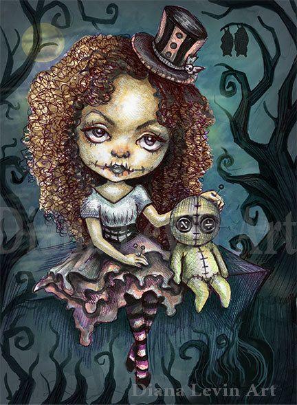 Dark Magic Big Eyed Voodoo Girl - Diana Levin