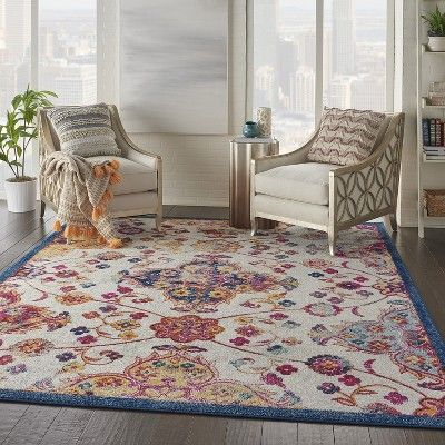 Nourison Persian Vintage Prv04 Blue Red Orange Indoor Area Rug 7 10x9 10 Bohemian Style Area Rugs Indoor Area Rugs Nourison