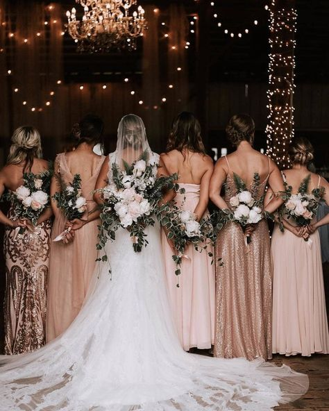 Rustic Long Rose Gold and blush Mismatched Bridesmaid Dresses Bohemian Bridal Party Rustic Wedding Ideas With A Touch Of Glamour Nicole Briann Photography Mix Match Bridesmaids, Mismatched Bridesmaid Dresses, Wedding Bridesmaid Dresses, Bride And Bridesmaid Pictures, Bridal Party Dresses, Bridesmaid Dress Colors, Bridesmaid Ideas, Sparkle Bridesmaid Dresses, Bridemaid Photos