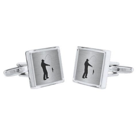 Man Fishing Silver Cuff Links #groomgroomsmandad #giftsformen #giftsforhim #giftsfordad #fathersday #fatherdaygifts #mengifts #menstyle