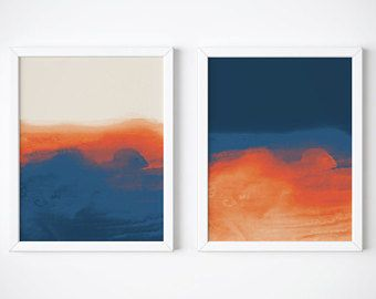 Set Of 2 Abstract Prints Dark Blue And Orange Abstract Art Set Orange And Blue Print Set Navy Art Prints Blue Abstract Painting Abstract Modern Art Abstract