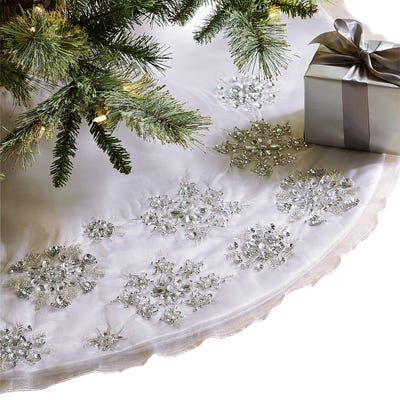 Beaded White Snowflake Tree Skirt Apartment Silver Christmas Tree Silver Christmas Decorations Tree Skirts