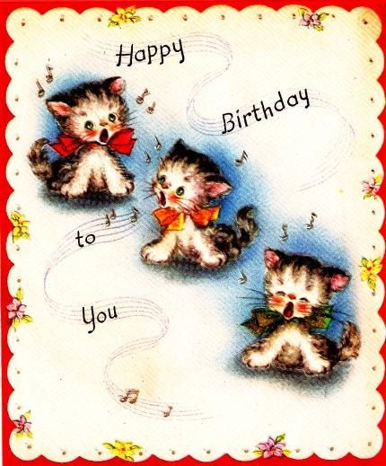 Vintage Birthday Card Three Kittens by PaperPrizes on Etsy