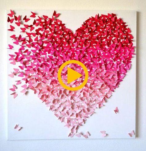 Butterfly Heart Color Gradient Canvas Art Handmade by LoveCreator, $55.00  #butterfly #canvas #color #gradient #handmade #heart #lovecreator