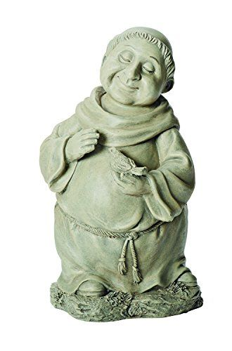 This Whimsical Garden Statue Features A Monk Holding A Bird It Is 12 Inches Tall And Is Made Of Resin Stone M Statue Whimsical Garden Garden Statues