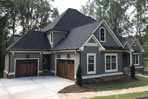Grey Siding House, Grey Brick Houses, House Roof, Dark Gray Houses, Home Siding, Gray Siding, Exterior Paint Colors For House, Dream House Exterior, Siding Colors For Houses