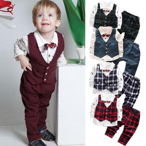 Boutique Kids Toddler Baby Girl Formal Outfits Plaid Tops Coat Dress Clothes Set