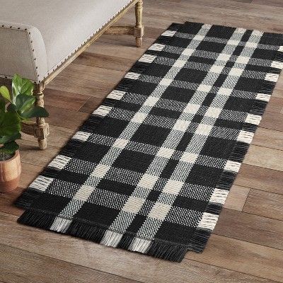 2 4 X7 Plaid Woven Accent Runner Rug Navy Threshold Plaid Rug Rugs Accent Rugs